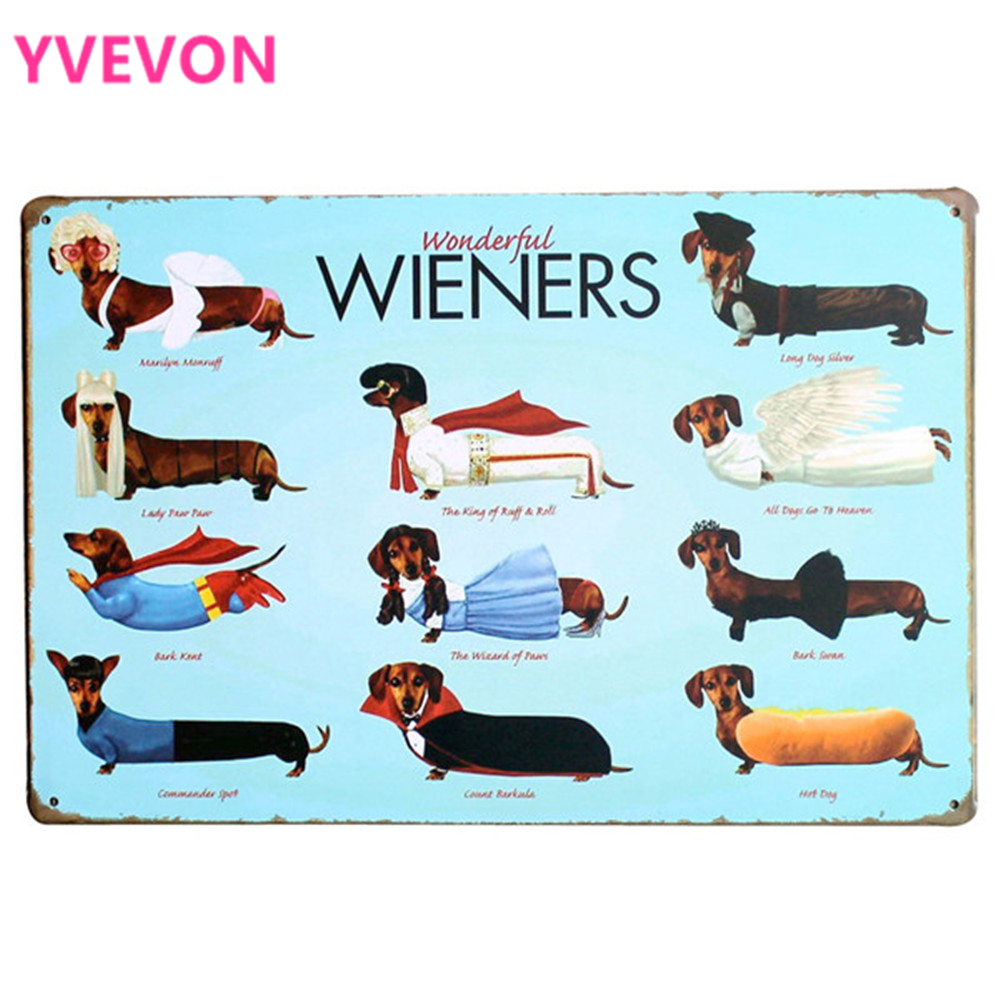 WONDERFUL WIENERS Metal Tin Plaque Dog Decor Sign Vintage Puppy Board för husdjur födelsedagsfest i lekrum hem LJ6-1 20x30cm A1