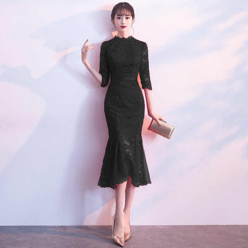61f64d1ee ... Elegant Women Lace Solid Cheongsam Traditional Flower Qipao Oriental Bride  Chinese Dress Classic Red Evening Mermaid