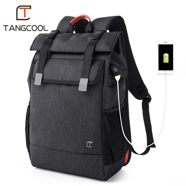 Tangcool Men's Backpack Fashion Multifunction USB Charging Men 16.5 inch Laptop Backpacks College Student School Bag