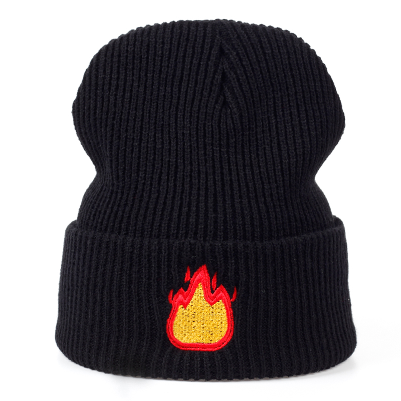 2017 new warm Hat men flame Embroidery Casual Warm Knitted Hip Hop cap Women Winter Hats Beanies