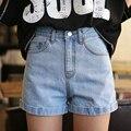 3 Cores Mulheres Verão Ondulação Finas Shorts de Cintura Alta Doces Coloridos Shorts Jeans Casuais