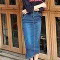 Denim Skirt 2016 Autumn Korean Casual Fashion Split Over High Waist Blue Jeans Skirt Vintage Long Skirt saia feminina B58