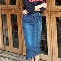Saia Jeans 2016 outono coreano divisão moda Casual sobre alta cintura calças de ganga saia saia longa do Vintage saia feminina B58