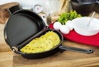 Nuevo Fabricante de Tortilla Cacerola Antiadherente Pancake Plegable Fácil Turno Doble Flip lado Para Cocinar Huevos Molde Desayuno Sartén de Acero Del Molde