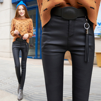 autumn fashion faux leather pants Matte Tight pants women elastic leather pants trousers plus leren broeken