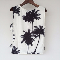 2016 Casual Crop Tops Summer Style Palm Tree Print Tank Top Sexy Women Sleeveless Cotton White Short Vest