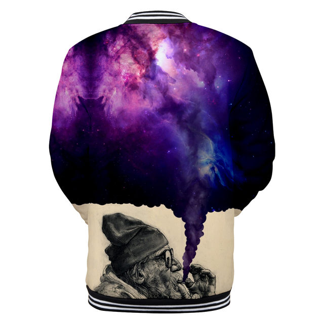 Smoker Baseball Jacket Anime 3D Print Winter Women/Men Fashion Coats Women/Men Casual Baseball Jacket dreamy like universe