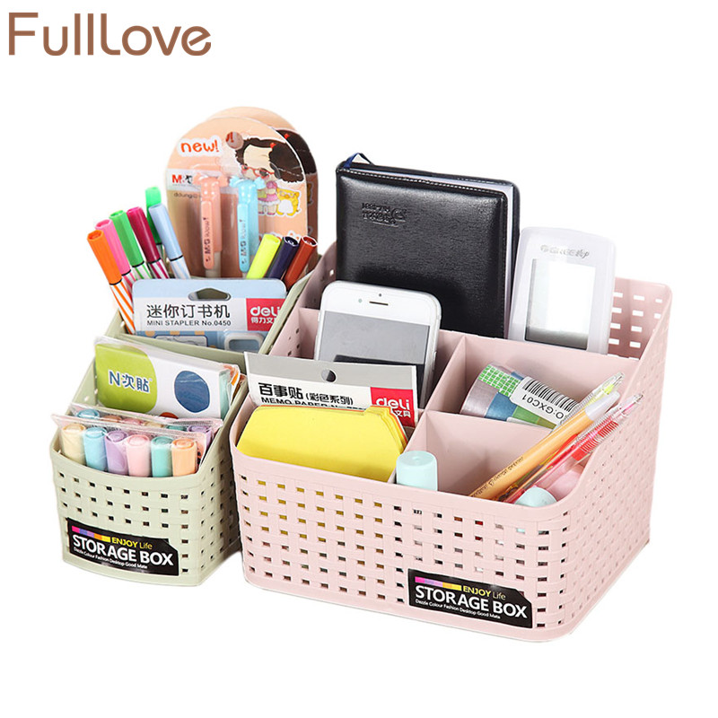 FullLove 16.5*7.8*12.5cm Plastic Cosmetic Organizer Box Pen Holder Sundries Case Desk Organizer Bathroom Storage & Organization