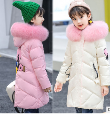 Girls down jacket coat Korean tide lovely cute fashion 2017 winter hooded long outerwear size 4 5 6 7 8 9 10 11 12 years child baby boy and girl 2017 new korean thick down jacket winter for size 1 2 3 4 years child long coat kid tide casual outerwear