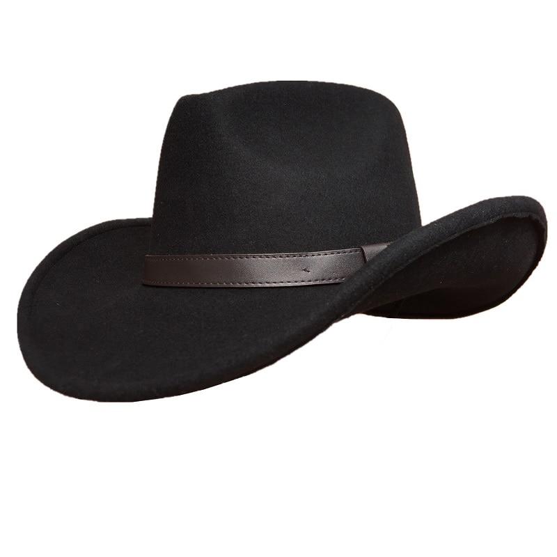 Cowboy Hat Black Wool Felt Western Hat For Men Women