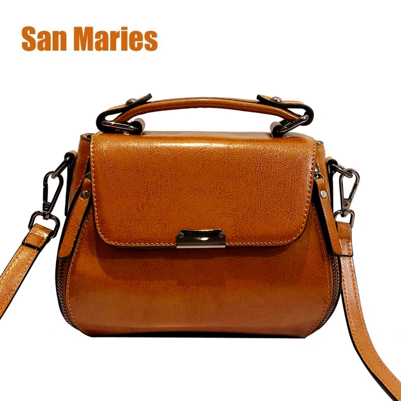 San Maries Genuine Oil Wax Cowhide Leather Women CrossBody Bags Soft Leather Handbags Shoulder Bag Female Sac Main Free Shipping 2017 autumn and winter new women genuine leather handbags female bags oil wax cowhide handbags fashion shoulder messenger bags