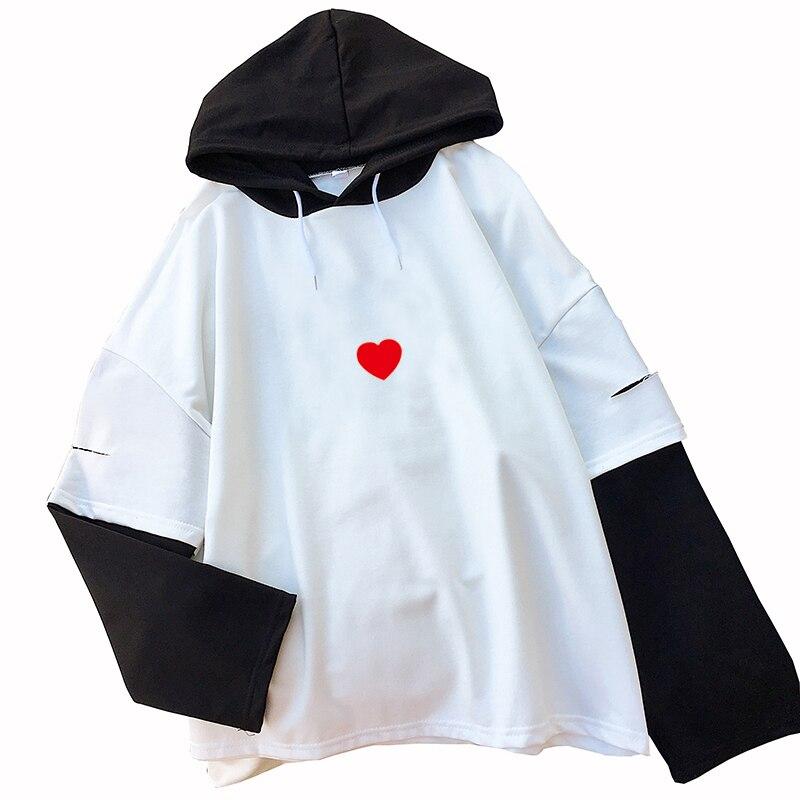 Korean Clothes 2018 Autumn Tshirts Long Sleeve Fake Two Pieces T Shirt Casual Harajuku Lovely Heart Printed Tops Tee Shirt Femme