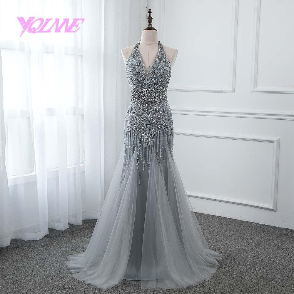 YQLNNE Luxury Sliver Rhinestones Beading   Evening     Dress   2019 Long Trumpet Mermaid Prom Gown Vestido De Festa Pageant   Dresses