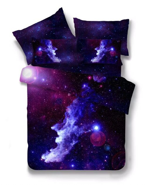 Hot 3d Galaxy bedding sets Twin/Queen Size Universe Outer Space Themed Bedspread 2/3/4pcs Bed Linen Bed Sheets Duvet Cover Set 44