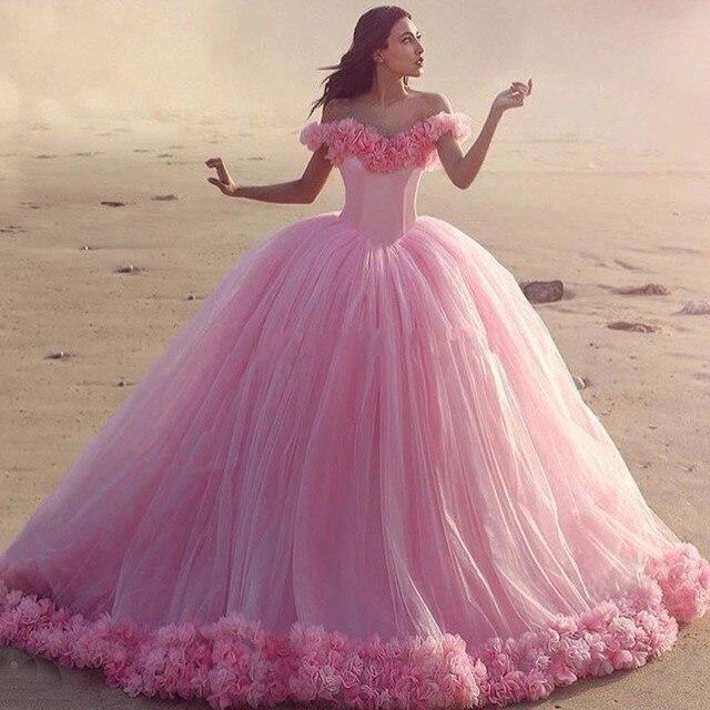 Impresionante Pretty Pink Flores hechas A Mano vestido de Bola ...
