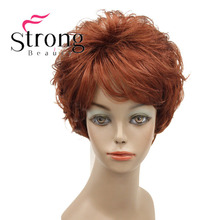 StrongBeauty Short Natural Wave Wig Copper Red Full Synthetic Wigs COLOUR CHOICES