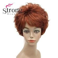StrongBeauty peluca corta de onda Natural pelucas sintéticas completas, color rojo cobrizo