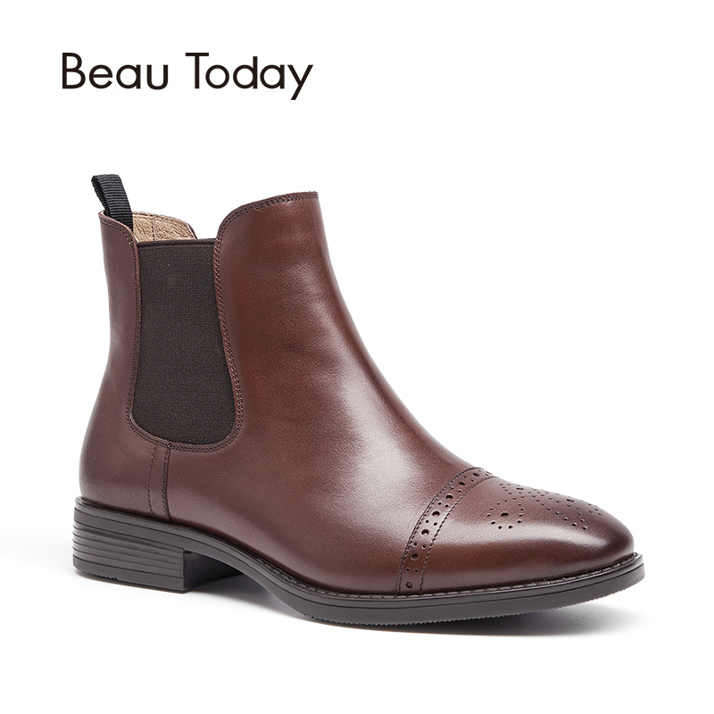 BeauToday Chelsea Boots Woman Top Quality Brand Boot Half Brogue Genuine Calf Leather Ankle Length Elastic Shoes Handmade 03040 beautoday women chelase boots genuine calf leather top quality spring autumn ankle length ladies boots handmade 03239