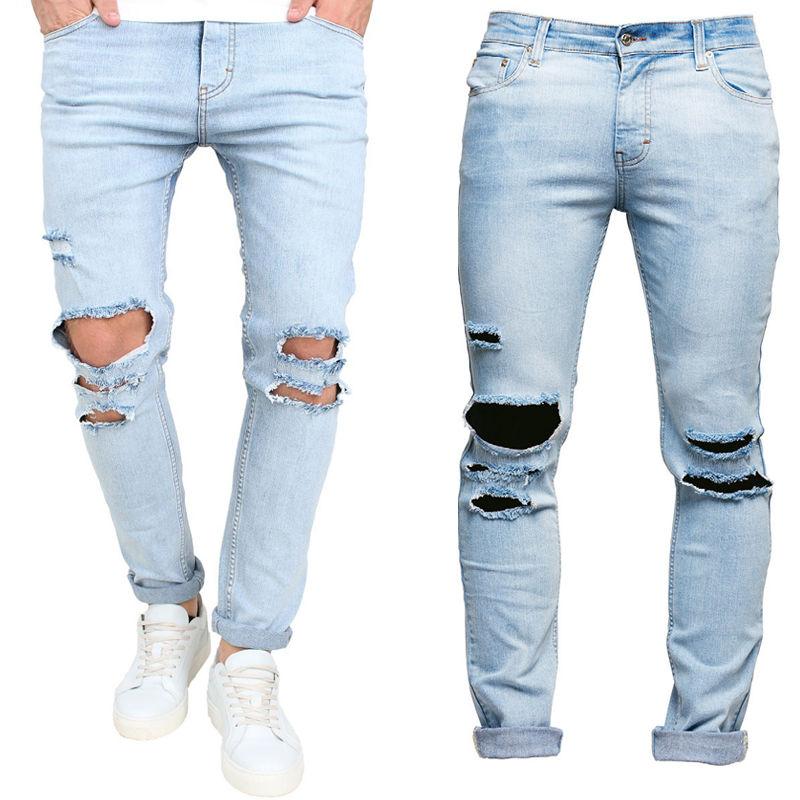 Men s Trousers Slim Pant Skinny Runway Straight Elastic Denim Pants Destroyed Ripped Jeans