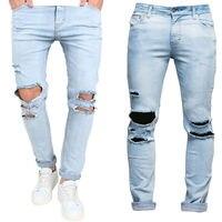 Runway Proste Elastyczne spodnie Jeansowe męskie Spodnie Wąskie Spodnie Skinny Spodnie Dżinsy Zgrywanie Zniszczone
