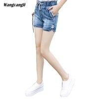 jeans women shorts Light blue Large size denim fat sister elastic waist mid waist jeans moustache effect summer 4XL wangcangli