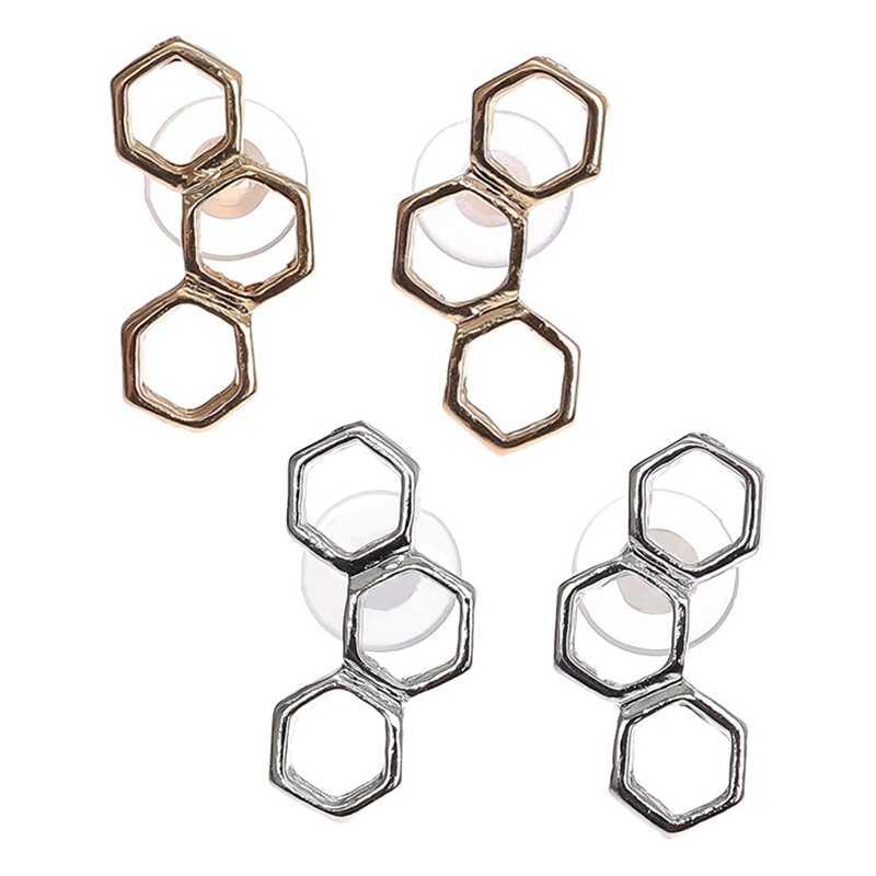 1 paia Oro Argento Esagonale Hollow Geometrica A Nido D'ape Alveare di Api Alveare Orecchini con perno Semplice Fascino Dei Monili Delle Donne Accessori