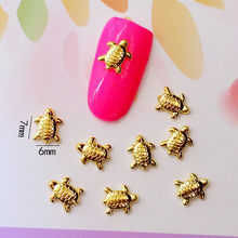 10Pcs/Lot 6*7mm Gold and Silver Tortoise 3D DIY Design Metal Alloy Nail Art Decorations Nail Gel Sticker Charms for Women(China)