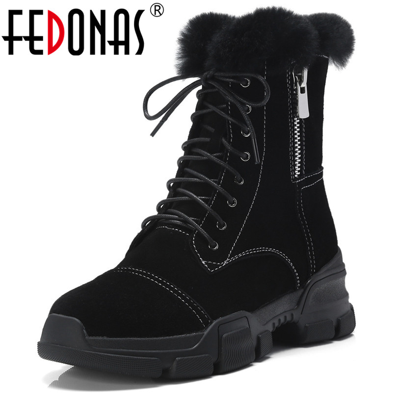 FEDONAS Fashion Brand Women Cow Suede Ankle Boots Warm Snow Boots Sexy Punk Rock Motorcycle Boots Female Basic Boots Shoes Woman taoffen genuine leather motorcycle boots biker shoes women suede pointed snow boots brand shoe famous designer woman flats punk