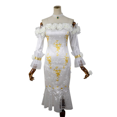 Haute qualité Anime chinois identité V Vera Nair femme Cosplay Costume blanc Rose robe + anneau + boucles d'oreilles + collier + nœud papillon - 3
