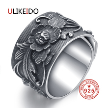 ULIKEIDO Real 999 Sterling Silver Rings For Women Man Lover Party Vintage Flower Thai Jewelry Unisex Gift Wide Size Fine