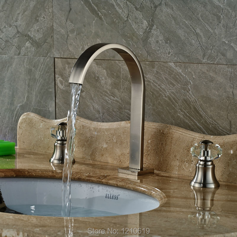 ФОТО Newly Waterfall Basin Faucet Mixer Tap Nickel Brushed Sink Faucet Cold&Hot Water Tap Crystal Handles