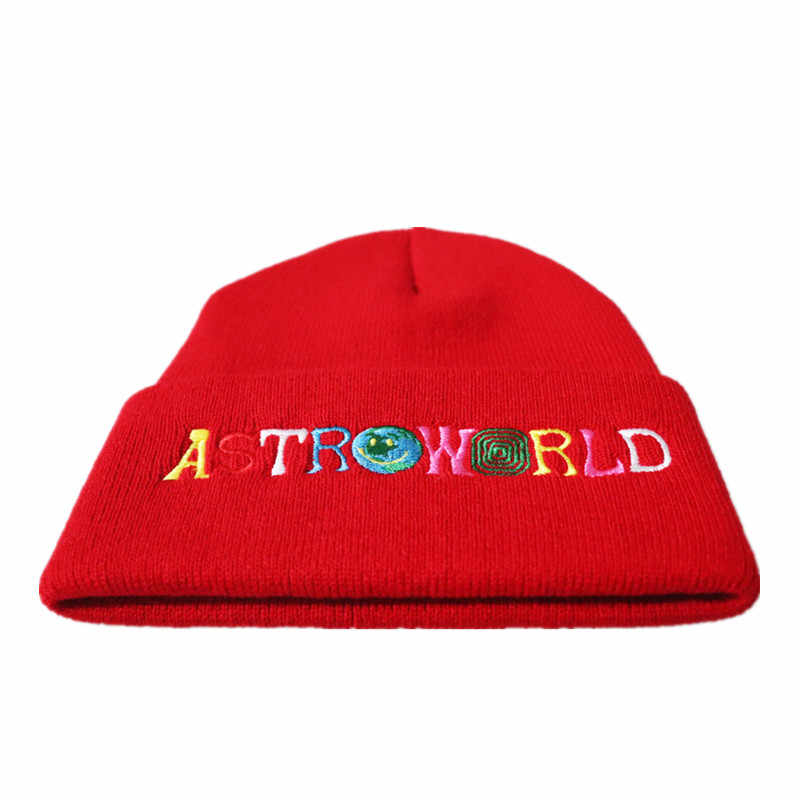 2ac72acf29c ... Travi  Scotts Knitted Hat 2018 New ASTROWORLD Beanie embroidery  Astroworld Ski Warm Winter Unisex Travis