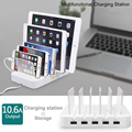 Latest Power Hub 5 Multi Charger Dock with 5 USB Port 10.6A Docking Station for Iphone Ipad Samsung HTC Devices