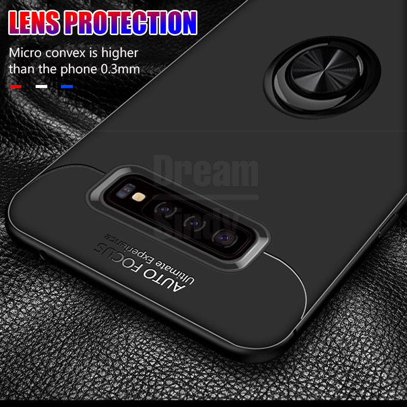 Luxury Shockproof Soft Case On The For Samsung Galaxy S10 S8 S9 PLus S10 Lite Ring Bracket For Note 8 9 Car Magnetic Bumper Case