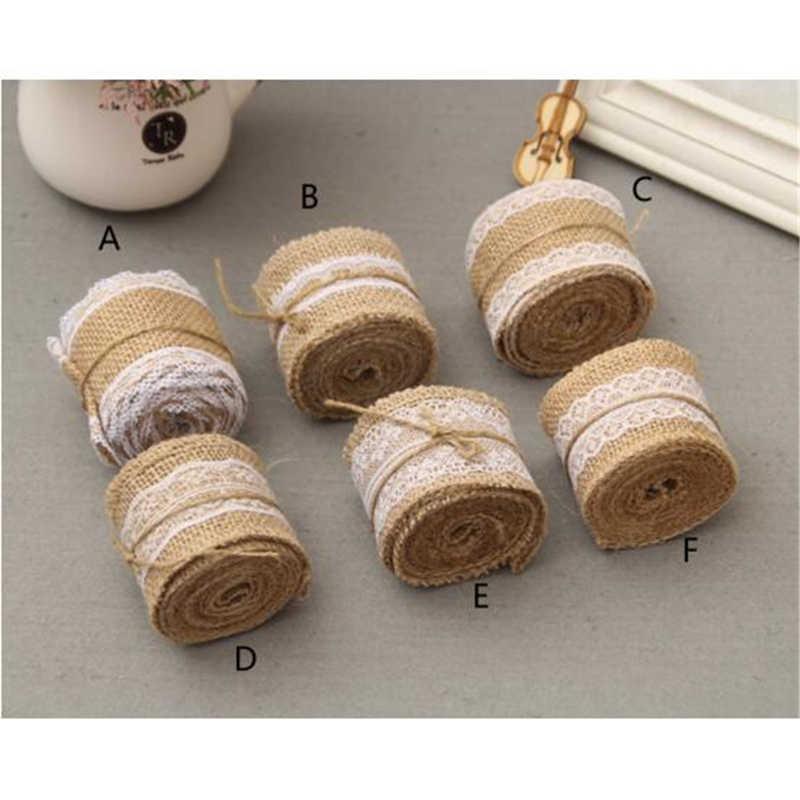 2 metros/unidades 5cm de ancho yute arpillera rollos cinta de arpillera con encaje decoración vintage rústica para boda ornamento arpillera boda Favor