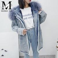 Большой мех енота с капюшоном Для женщин Зимняя джинсовая куртка, пальто Кролик меховой подкладке джинсовая куртка Верхняя одежда свободны