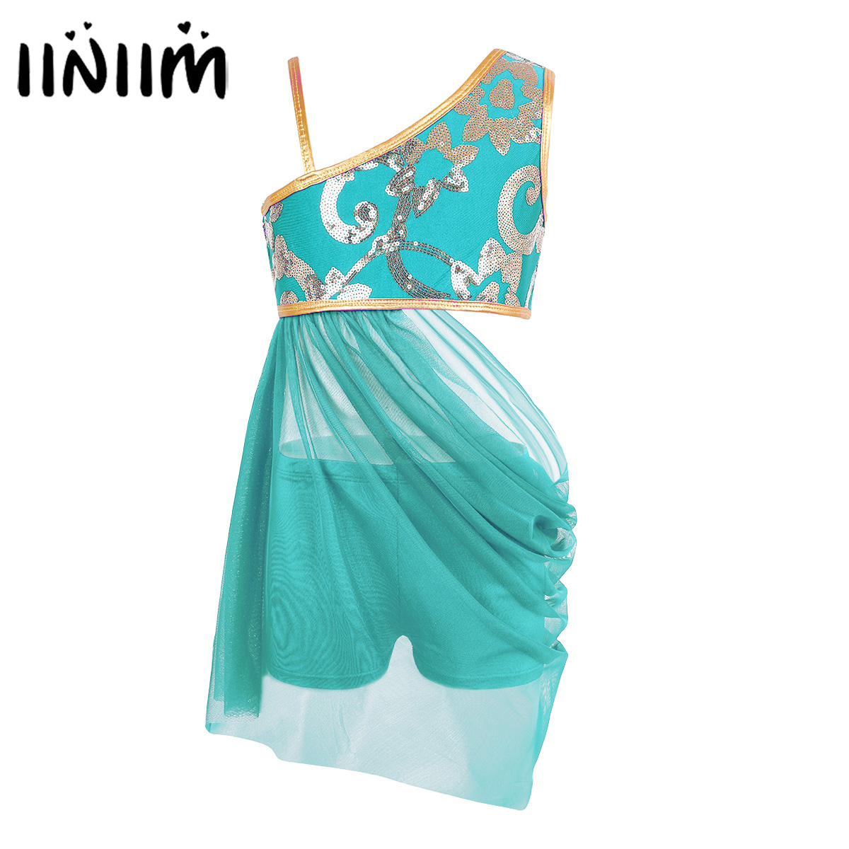 iiniim Girls Ballerina Floral Glitter Reflective Top Waist Open Drap Skirt with Separated Bottoms Lyrical Ballet Dance Costumes