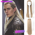 The Hobbit The Battle of the Five Armies Legolas Long Straight Men Wig with Braid Ash Blonde Movie Cosplay Wig + Free Wig Cap
