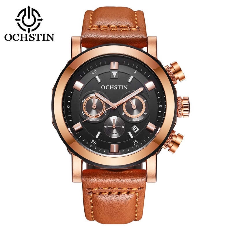 OCHSTIN Sport Watch Men Luxury Brand Genuine Leather Military Chronograph Men Wrist Watch Quartz Male Watches Relogio Masculino