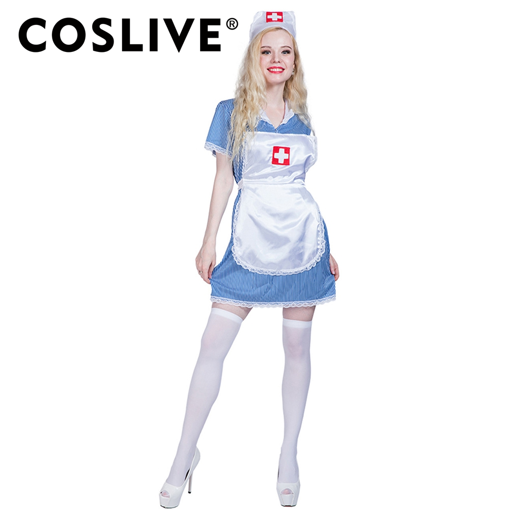 Coslive Dressvoger Halloween Nurse Costume Doctor Uniform Fancy Dress Cosplay For Girl Halloween Party