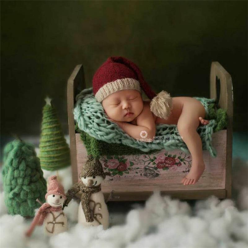 Nouveau-né Props Fotografia Infantil Imprimé En Bois Lit Bébé Photographie accessoires de studio Rétro Lit Photo Bébé Accessoires pour les Filles