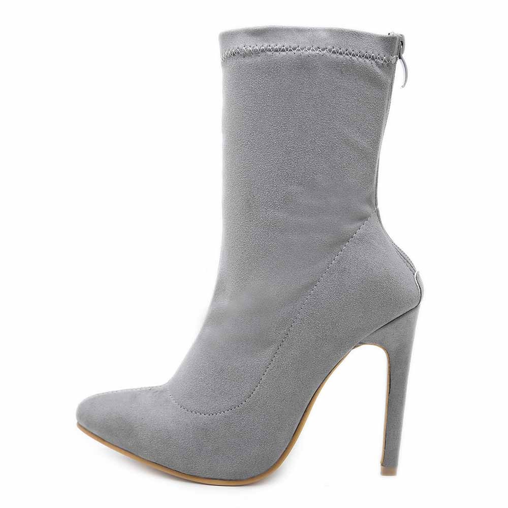 New Spring Autumn Stiletto Solid Color Sexy Thin Heels Pointed Toe Flock Back Zipper Style Sexy Ankle Womens BootsNew Spring Autumn Stiletto Solid Color Sexy Thin Heels Pointed Toe Flock Back Zipper Style Sexy Ankle Womens Boots