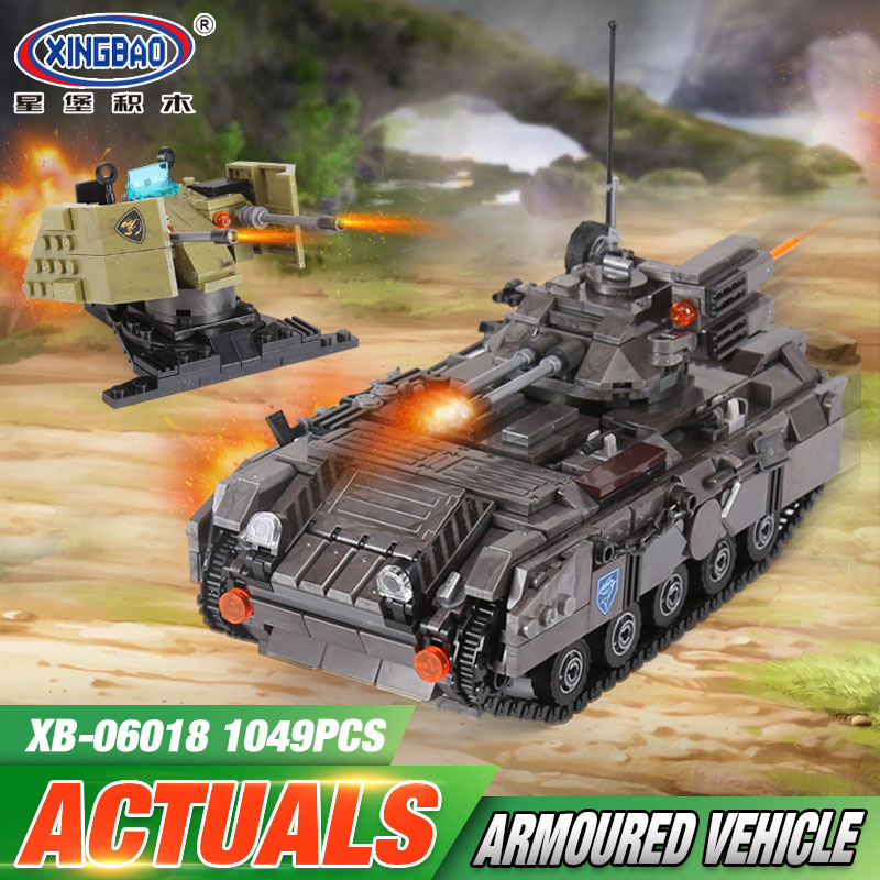 XINGBAO 06018 Genuine 1049PCS Military Series The Armoured Vehicle Set Building Blocks Bricks Educational Toys As Children Gifts xingbao 06009 military series the extreme snowmobiling sets legoinglys building nano blocks bricks toys for children kids