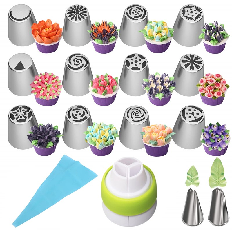 Russian Tulip Icing Piping Tips Nozzles Stainless Steel Flower Cream Pastry Leaf Tips Nozzles Bag Cupcake Cake Decorating Tools