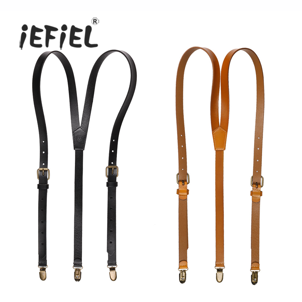 iEFiEL Adult Mens Womens Fashion Style Adjustable Genuine Leather Y-shaped Suspenders Garters with Metal Clips With Jeans Pants