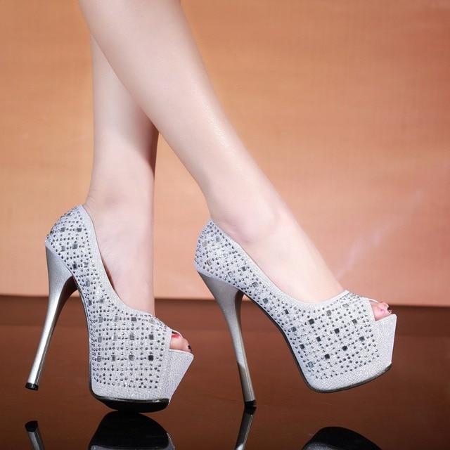 2016 Europe US Tide Women Nightclub Casual PU High Wedge Heel Shoes Black Silver Mosaic Rhinestone Sexy Fish Mouth Party Shoes