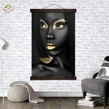 цена Black Cool Make-up Lady wall art canvas framed print painting posters and prints wall pictures modern Art home decor онлайн в 2017 году