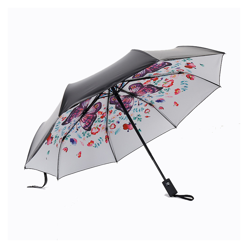 Fully automatic Flower umbrella Black Coating sunscreen sunny rain woman 3 folding female princess Parasol