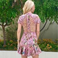 Pink Flower Printed 2017 Runway Female Sexual Cutout Cross Bandage Short Sleeve Mini Fishtail Beach Summer