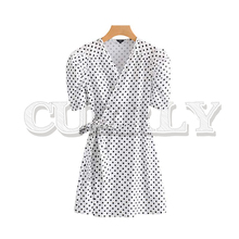 CUERLY women polka dot print mini dress V neck vintage puff half sleeve sexy bow tie casual female retro dresses vestidos pinstripe bow tie puff sleeve dress